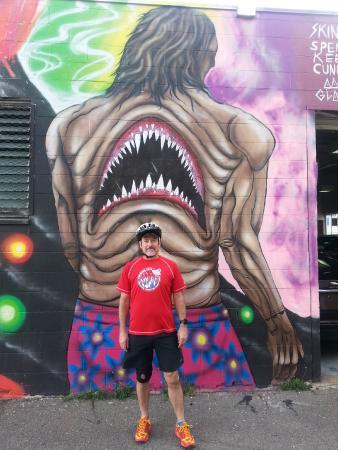 Pedal Bike Tours: John from Houston channels his inner shark in Kaka'ako