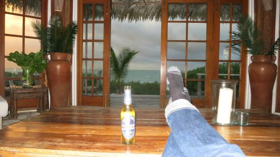 Kamalame Cay: Sitting with a beer