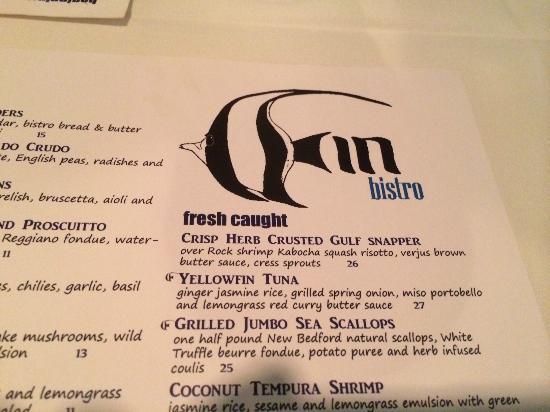 Fin Bistro: menu