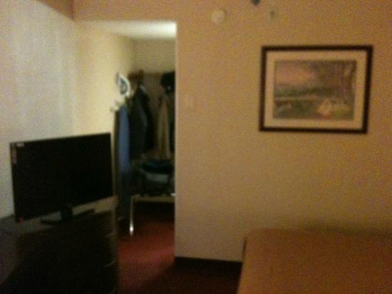 Howard Johnson Romulus Detroit Metro Airport: Wide Screen and Closet Area