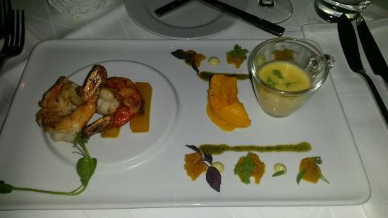 Restaurant Medici: Vorspeise - Garnelen und Kürbis