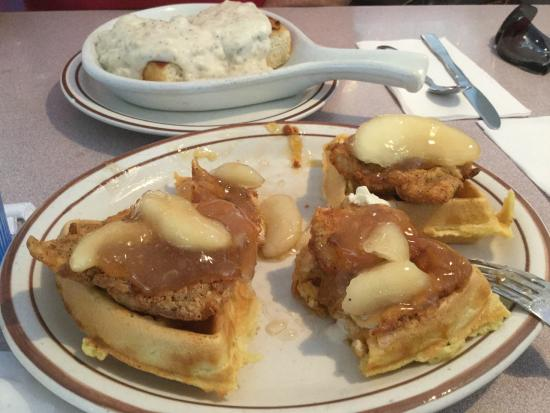 Blueberry Hill Family Restaurant : Chicken Apple Waffles and Biscuit with Gravy