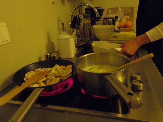 Reykjavik Residence Hotel: キッチン使用中。狭いですが使えます。