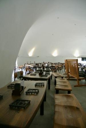 Hoto fudo kawaguchiko ekimae the cavernous interior of the igloo like building