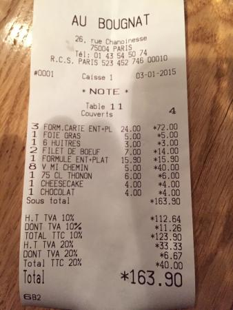 Au Bougnat : The Bill