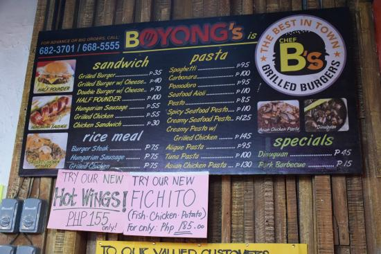 Marikina, Filipinas: Boyongs Menu