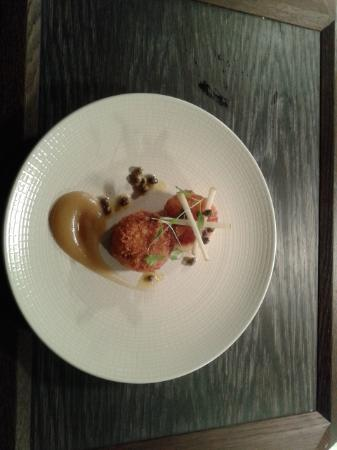 Restaurant 23: Scallop with spiced pig croquette and caper and apple puree