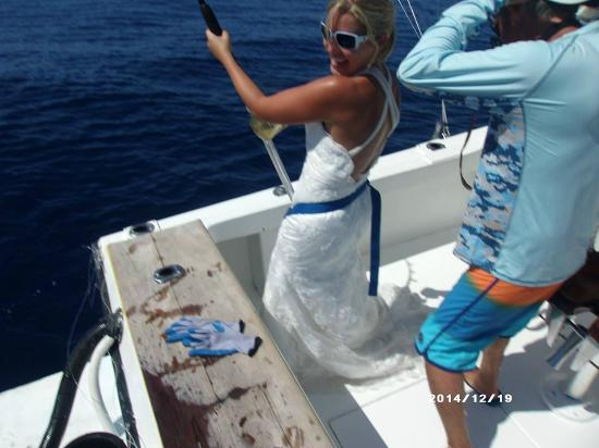 "Nosara Paradise Rentals: They helped me ""trash the dress"" fishing in my wedding dress :-)"