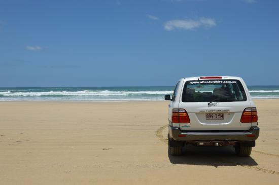 Fraser Coast, Australia: a view of the car we rented on the Eastern Beach of Fraser Island