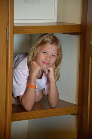 The Royal Haciendas All Suites Resort & Spa: Daughter not wanting to leave.......hid in the closet on a shelf :)
