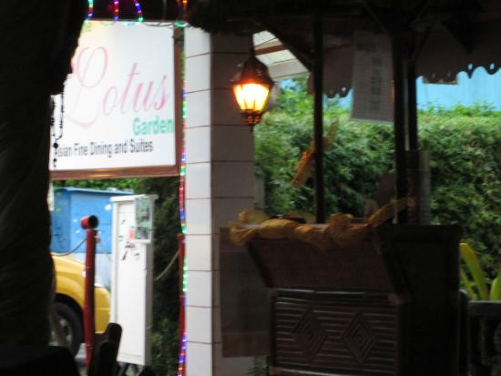 The Lotus Garden: View from inside to sign