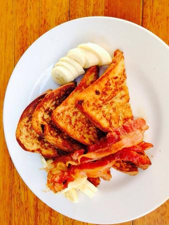 Rico's Café: French toast served with bacon and bananas