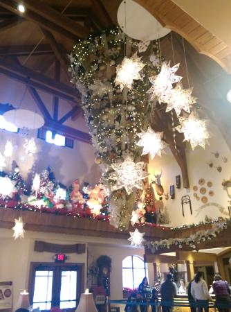 lobby with upside down Christmas Tree - Picture of Bavarian Inn ...