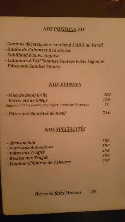 Le Vieux Moulin: The menu