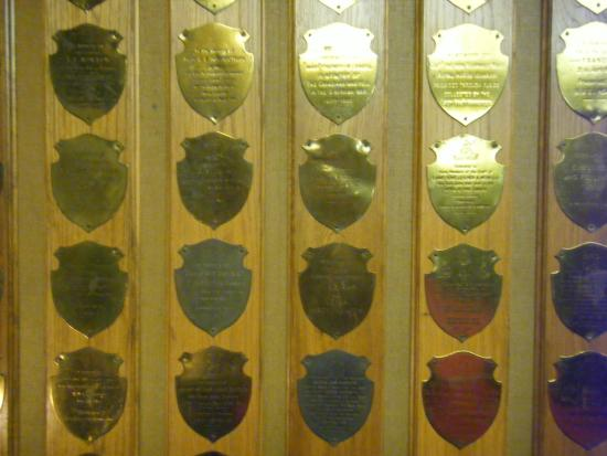 The Union Jack Club: original room donor plaques