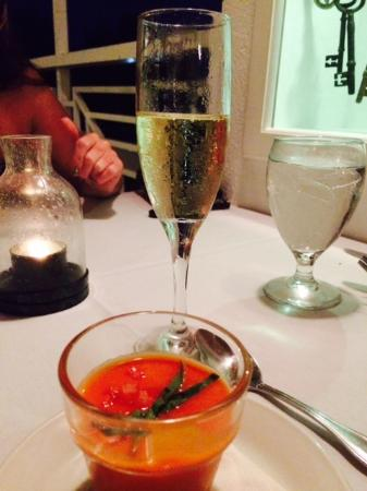 Kaibo - Upstairs Restaurant : Plum tomato soup paired with sparkling white wine