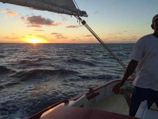 Tradition Sailing Charters: The sun going down