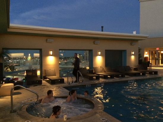 rooftop pool and hottub at night picture of hotel. Black Bedroom Furniture Sets. Home Design Ideas
