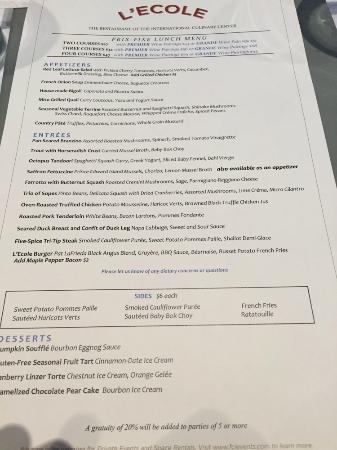 L'Ecole: lunch menu