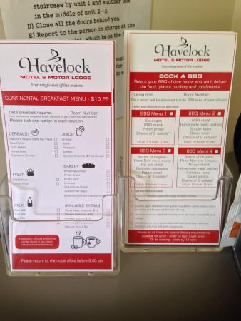 Havelock Motel and Motor Lodge: Menu Options