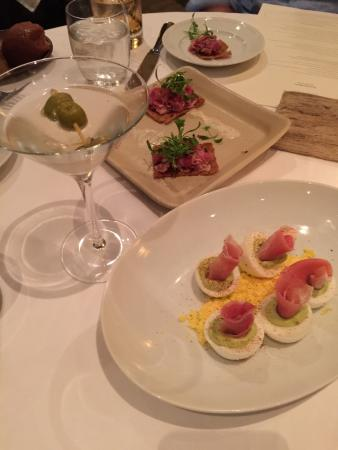 The Restaurant at Wente Vineyards : Lamb pastrami and deviled egg apps. Side of dirty martini with bleu cheese stuffed olives