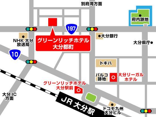 Green Rich Hotel Oita Miyakomachi : 地図