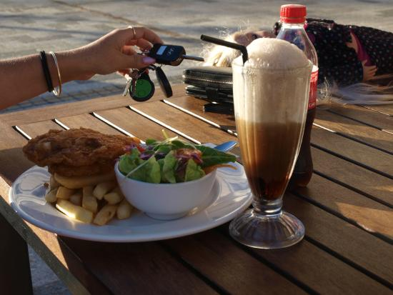 Dylans on the Terrace: adult fish and chips meal, with a coke spider.