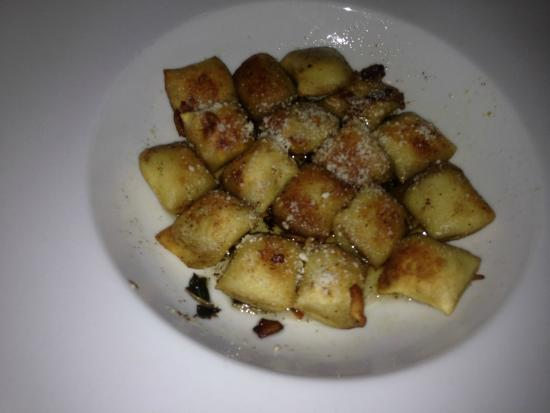 Tisha's: Homemade stuffed pumpkin gnocchi Pan seared in brown butter Crispy sage and shaved Pecorino Roma