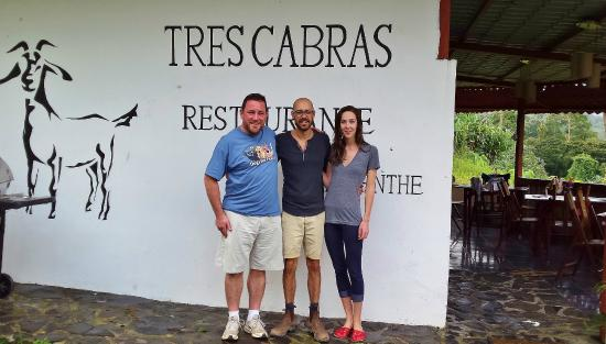 Tres Cabras Restaurante at Nepenthe: Aaron with our hosts Ryan and Rebecca
