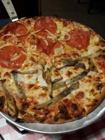 Mario's Pizza & Pasta: 1/2 and 1/2 medium. Pepperoni and onion and eggplant and ricotta.  Yum!