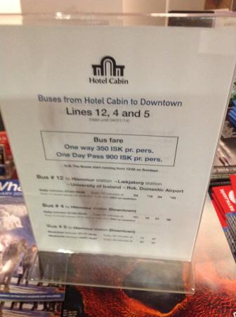 Hotel Cabin : Bus Details
