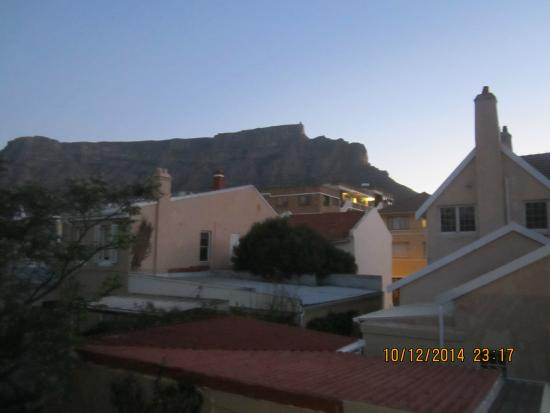 An African Villa: Table Mountain at dusk as viewed from our room.