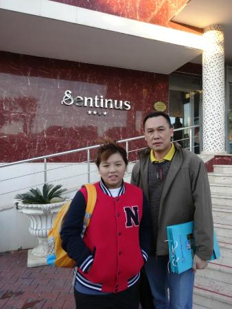 Sentinus Beach Hotel: Hubby and daughter outside the hotel