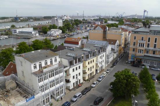 Leuchtturm Warnemünde: View from tower of town and harbour beyond