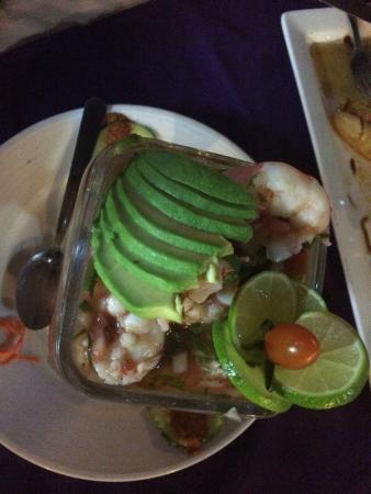 La Vaquita: Fresh top view of baja shrimp cocktail
