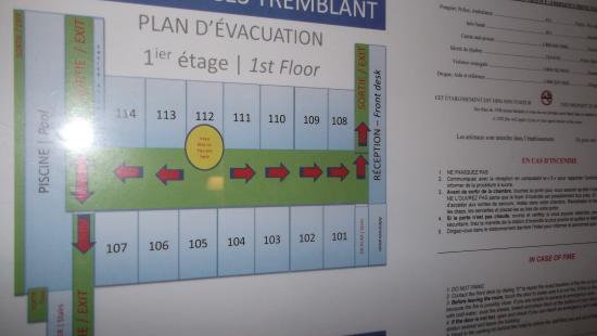 Hotel Vacances Tremblant: Plan d'évacuation en cas d'urgence.