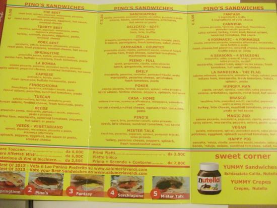 Salumeria Verdi - Pino's Sandwiches: il menu con l'ampia scelta dei panini