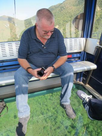 J3 Private Tours Hong Kong: Jamie on the glass bottom cable car from the Big Buddha