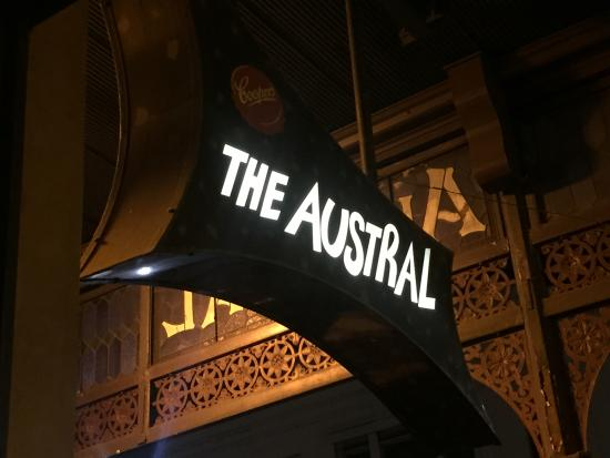 Austral: Sign from street facing table