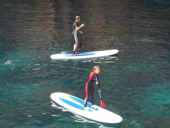 Whangarei, Selandia Baru: Testing out the paddle boards