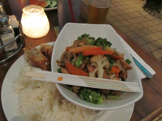 Quinn's Almost By The Sea: Chicken Stir Fry with Egg roll and Chili Sauce and rice (massive portion)