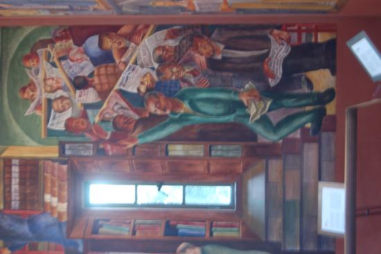 Near the bottom of the steps leading to filbert st for Coit tower mural
