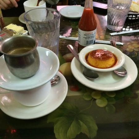 Cafe con lech (coffee on top; milk in cup on bottom) and the amazing flan.