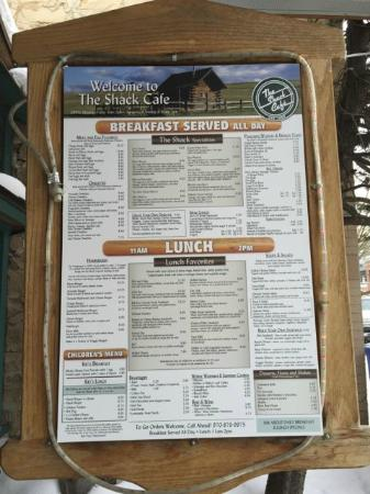 The Shack Cafe: Menu