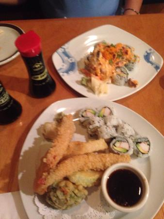 "Hallandale Sushi Thai: ""Volcano roll & California/Shrimp tempora roll platter"""