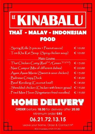 Le Kinabalu: Home Delivery Menu