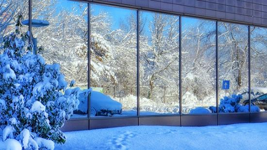 Ramada Plaza Bucharest Convention Center: This is the reflection of the snow trees in front of the hotel
