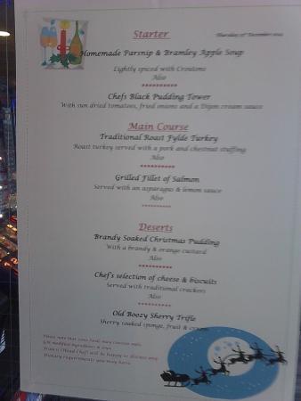The Royal Boston Hotel : christmas lunch menu.