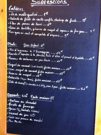 Restaurant La Grange Marmande Menu
