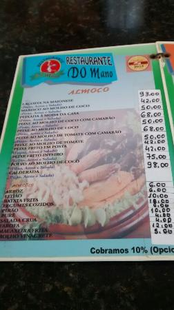 Restaurante do Mano : Foto do cardápio do restaurante em janeiro de 2015